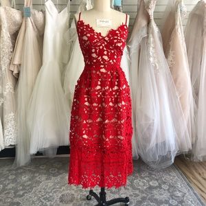 Red and Nude Lace V-Neck Dress